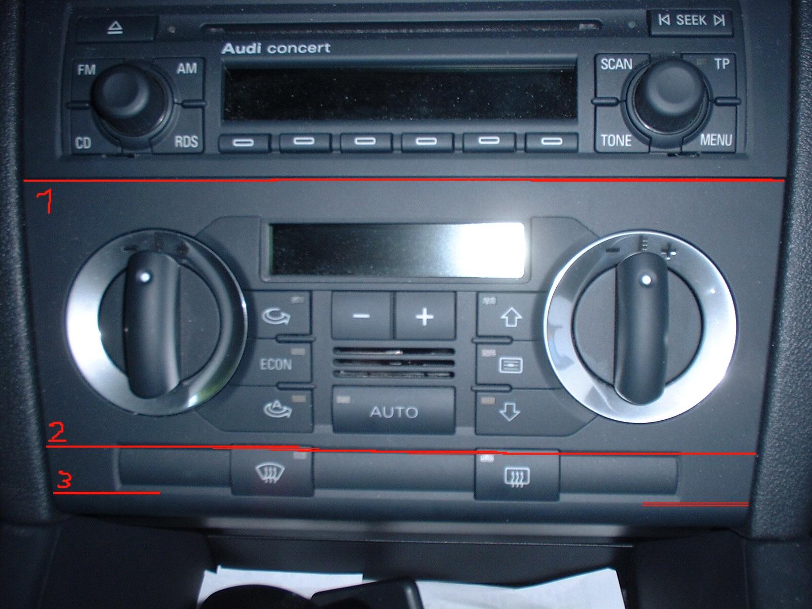 Audi a3 schablone klima bedienteil umbau einfach din auf for Mueble 2 din audi a3 8p